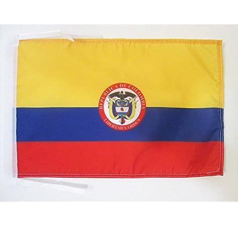 AZ FLAG Bandera de Colombia con Armas 45x30cm - BANDERINA Colombiana 30 x 45 cm cordeles: Amazon.es: Hogar