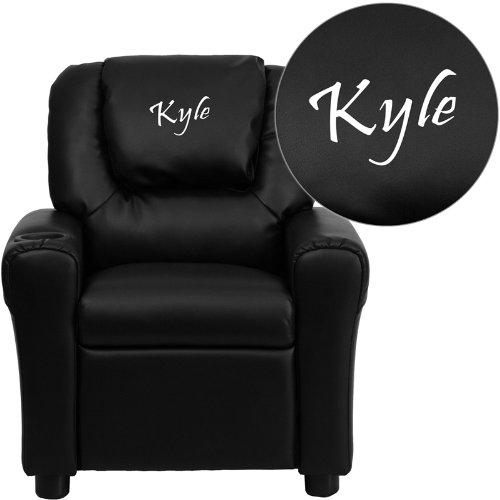 Head Emb - Personalized Black Leather Kids Recliner with Cup Holder and Headrest DG-ULT-KID-BK-EMB-GG