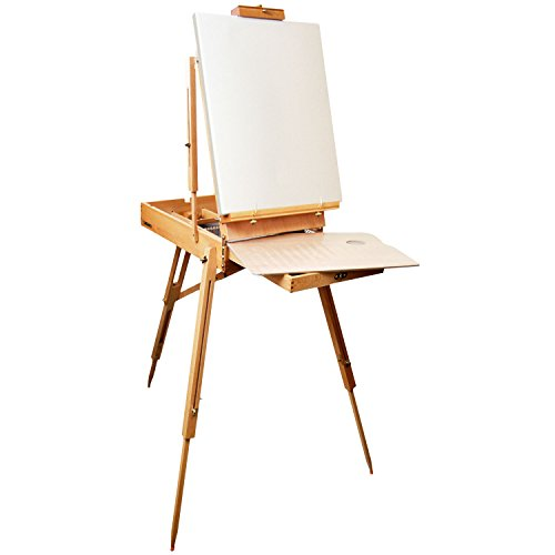 Jullian Escort French Style Easel Includes Travel Sketchbox with 12 Inch Drawer, Wooden Pallete and Shoulder Strap - Birchwood