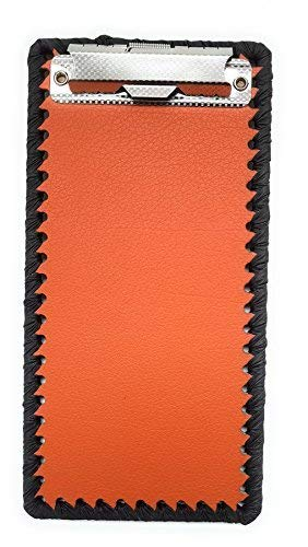 Orange Leather Coated Clipboard - Bill Credit Card Receipts Memo Holder Pad - For Restaurants, Stores, Office - 4.3
