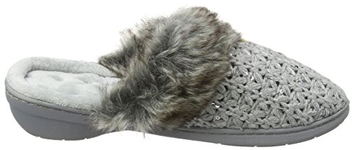 Isotoner Sparkle Knit Mule Fur Slippers, Chaussons Femme Gris (Grey)