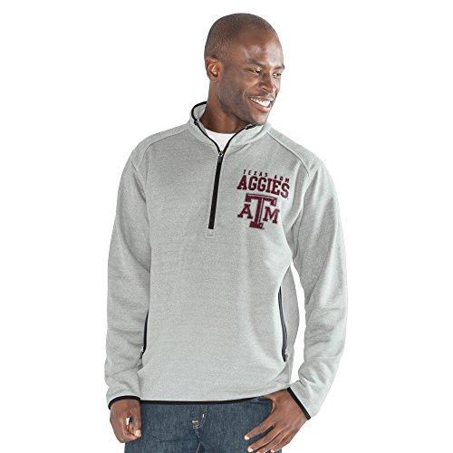 G-III Sports NCAA Texas A&M Aggies Men's 1 On 1 Quarter Zip Fashion Top, Heather Grey, X-Large