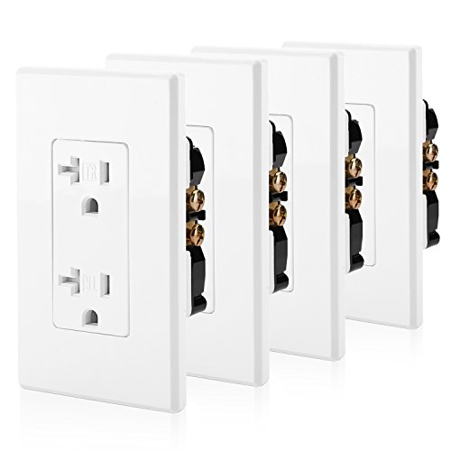 [4 Pack] BESTTEN 20A Tamper Resistant Decor Receptacle Standard Duplex Electrical Wall Outlet, Screwless Wall Plates Included, Self Grounding, Residential and Commercial Grade, UL Listed, ()