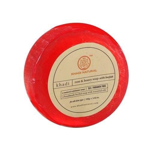 Khadi Natural Herbal Handmade Rose and Honey Loofah Soap (100 g)