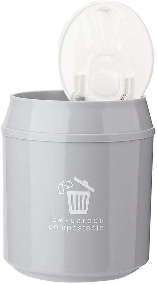 Tarente Mini Poubelle Accueil Table de Bureau Poubelle Salle de Bains Panier Garbage Gris