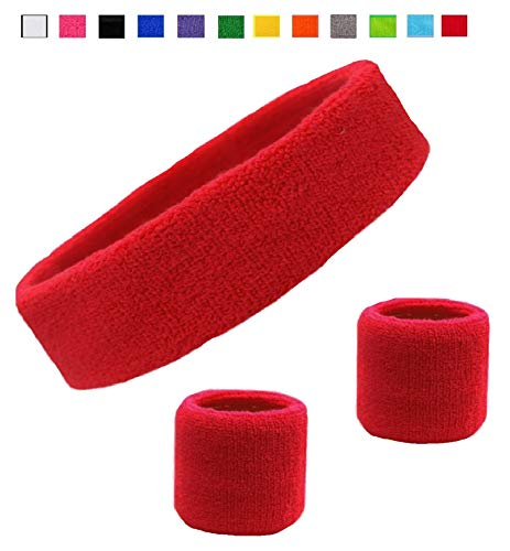 Kenz Laurenz Sweatband Set Cotton Sports Headband Terry Cloth Wristband Moisture Wicking Sweat Absorbing Head Band Athletic Exercise Basketball Wrist Sweatbands and Headbands ()