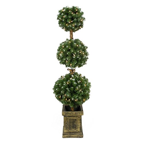 4.5' Pre-Lit Frosted Triple Ball Artificial Topiary Tree in Decorative Pot - Clear Lights (Outdoor Topiary Trees With Lights)