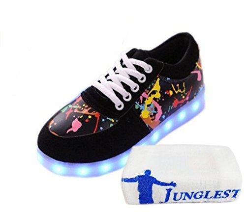(Present:kleines Handtuch)JUNGLEST 7 Farbe USB Aufladen LED Leuchtend Sport Schuhe Sportschuhe Sneaker Turnschuhe Walkingschuhe für Unisex-Erwa Graffiti