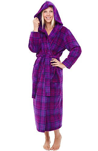 Alexander Del Rossa Womens Plush Fleece Robe with Hood, Small Medium Purple and Pink Plaid (A0116P74MD)