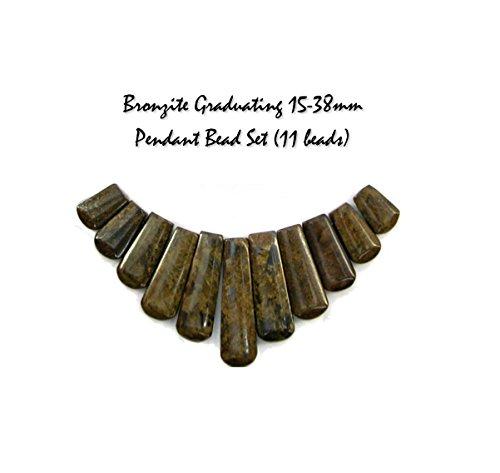 Genuine Bronzite Graduating 15-38mm Gemstone Pendant Bead Set (11 beads) for Jewelry Making ()