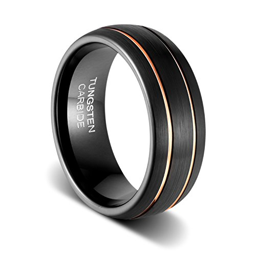TUSEN JEWELRY Mens Wedding Band 8mm Black Tungsten Ring Brushed Matte Double Groove Rose Gold Inlay Dome ()