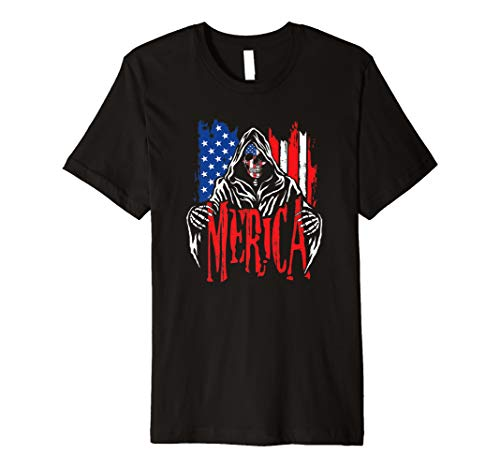 (Merica The Grim Reaper T Shirts USA Death Skull Patriot Tee)