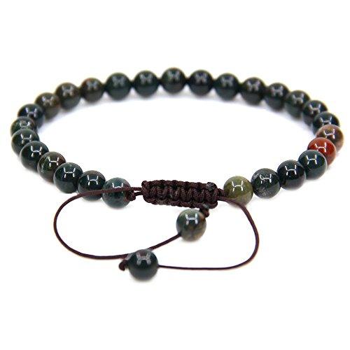 Natural Green Bloodstone Heliotrope Gemstone 6mm Round Beads Adjustable Bracelet 7 Unisex
