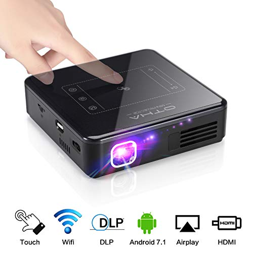 Portable Projector for Home Theater - OTHA Mini Android Projector with 2GB RAM, 200 ANSI Lumen,Built in Battery, Support 1080P and 4K Video ,Mirroring with Phones,Laptop,PS4, with HDMI,TF Card and USB