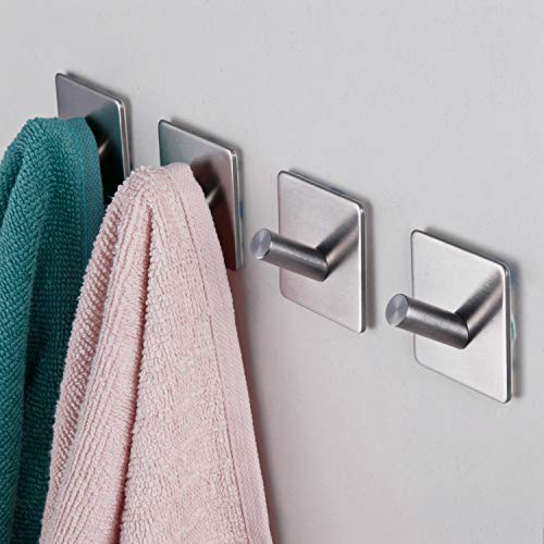 (3M Adhesive Hooks, Rope Towel Hanger with Stainless Steel Super Powerful Stick On Hooks for Home, Kitchen, Bathroom, Heavy Duty Wall Mount Coat Hanging Rack - (4 Pack) (Heavy Duty Wall Hooks- 4packs))