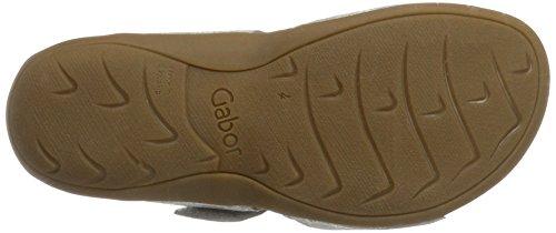 Gabor Shoes Comfort, Sandalias con Cuña para Mujer Plateado (silber 13)