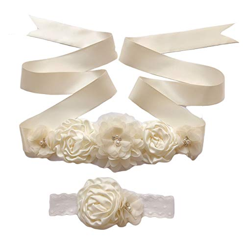 Maternity Flower Sash Belt Flower Girls Dress Belt Bridal Floral Pregnant Sash JB29 (Ivory)