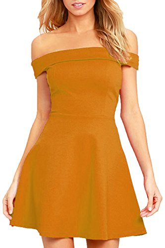 Sleeveless Knit Cocktail Mini (Zalalus Women's Fit and Flare A Line Dresses Off Shoulder Elegant Summer Casual Solid Cocktail Wedding Party Skater Dress Yellow Small)