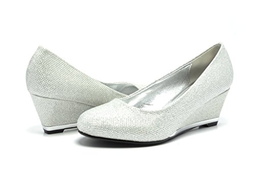 Sassy Sexy ELLE-2 New Women's Faux Suede/Glitter Upper Low Wedge Heels Pumps Shoes, ELLE-2-SILVER, 7.5 B(M) US
