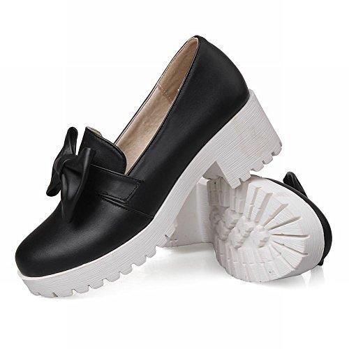 Latasa Womens Cute Bow Platform Mid Chunky Heel Slip on Comfort Loafers Shoes Black gtbxi0o