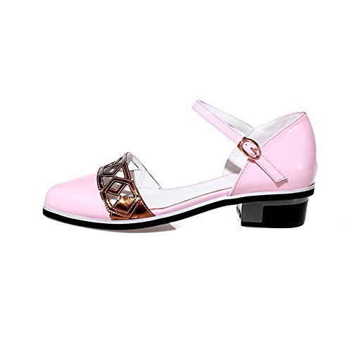 AllhqFashion Womens Buckle Low-heels Patent Leather Assorted Color Pointed Closed Toe Sandals Pink gXQsqzGh