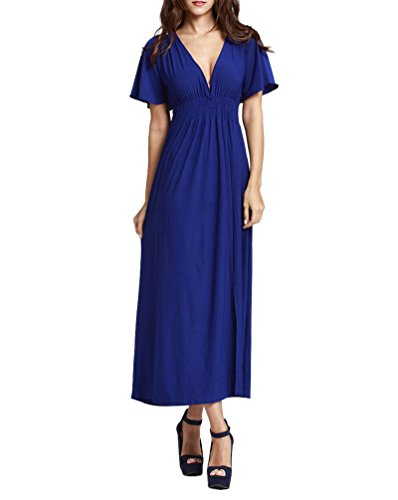 Sommerkleider Damen Oversize Elegante Kurzarm V-Ausschnitt High Waist Maxikleider Strandkleid Normallacks Mode Casual Partykleider Blau tjCZZ