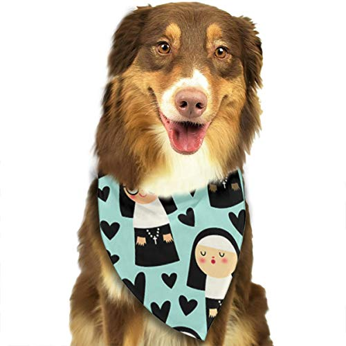 OURFASHION Nuns On Blue Bandana Triangle Bibs Scarfs Accessories for Pet Cats and Puppies.Size is About 27.6x11.8 Inches (70x30cm). ()