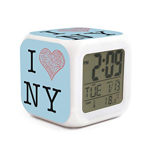 JWOJJUAW Wake Up I Love New York NY Dimmer Snooze LED Nightlight Bedroom Desk Travel Digital Loudest Alarm Clock for Kids Girls