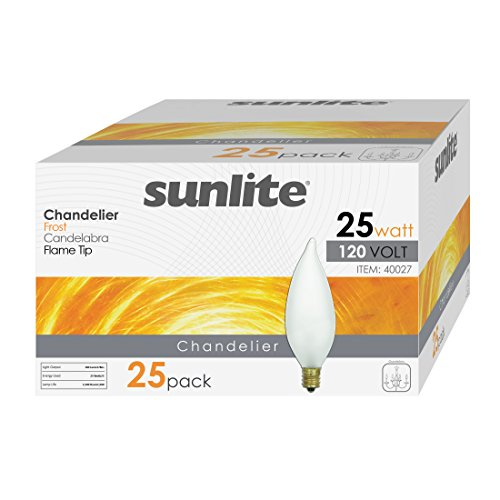 Sunlite 25CFF/32/25PK Candelabra (E12) Base Flame Tip 25W Incandescent Chandelier Frosted Bulb (25 Pack) (Center Frosted)