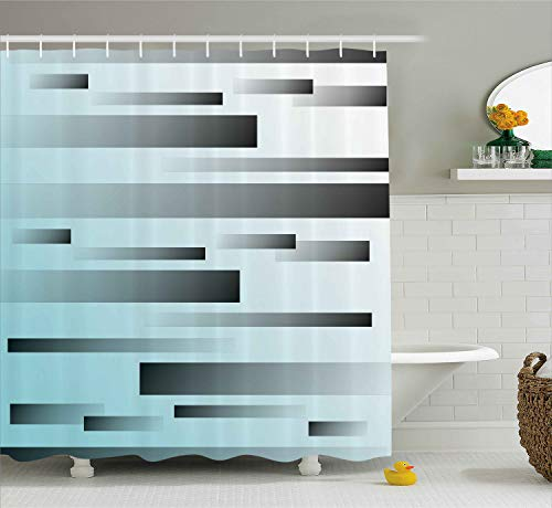 (Ambesonne Striped Decor Shower Curtain, Abstract Symbolism Lines Featured Modern Multi-Faceted Lines Sci Fi Art, Fabric Bathroom Decor Set with Hooks, 84 Inches Extra Long, Sky Blue)