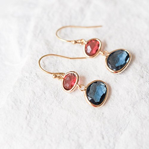 Ruby Earrings Glass (Crystal Glass Simulated Red Ruby Simulated Blue Sapphire Drop Earrings)