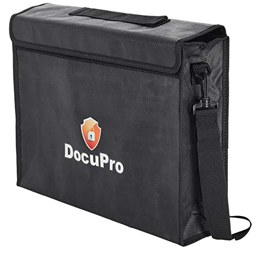 Fireproof Document Bag XXL (16''x12''x4'' Inch) With Shoulder Strap and Zipper, For Protection of Money, Passports, Jewelry, Laptops by DocuPro