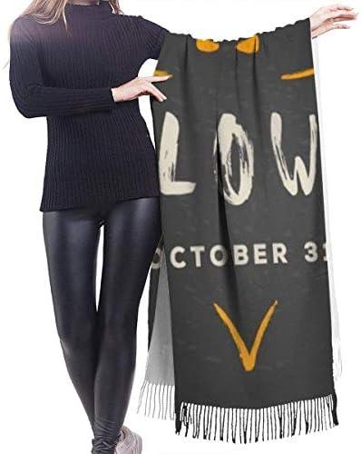Vikimen Wickelschal Große Schals Fransenschal Cashmere scarf women Halloween Vector Hand Drawn Illustration. Outline Of Bat With Greeting Decorative scarf