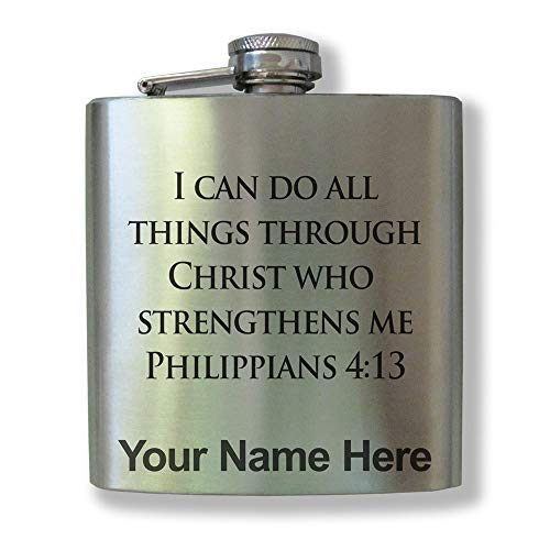 Stainless Steel Flask, Bible Verse Philippians 4-13, Personalized Engraving Included]()