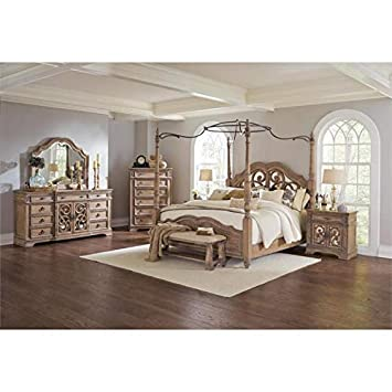 Amazon Com Bowery Hill 4 Piece King Mirrored Canopy Bedroom Set