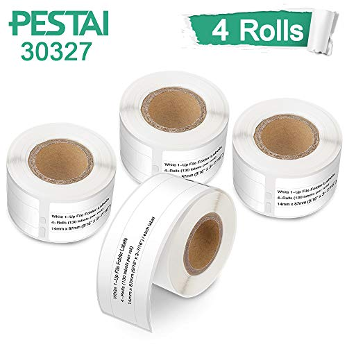 PESTAI Compatible 30327 Labels Replacement for Dymo 9/16 x 3-7/16 1-Up File Folder Labels, White, 14mm x 87mm, 4 Roll-130 Labels/Roll, for Dymo LabelWriter 450 Turbo 4XL.