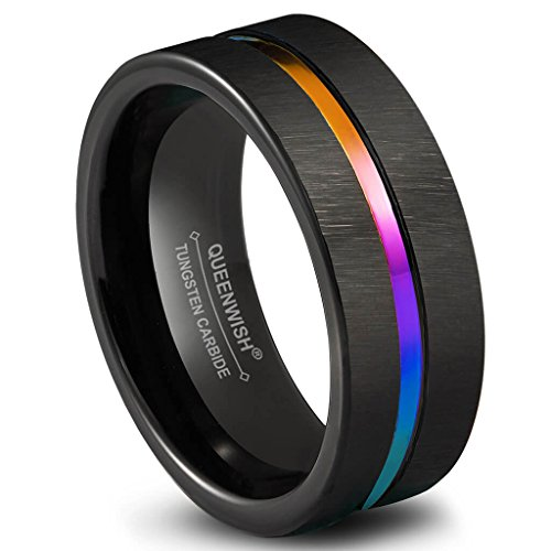 8mm Black Brushed Tungsten Wedding Band Rainbow Center Groove Couples Engagement Rings Comfort Fit
