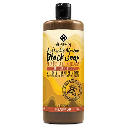Alaffia - Authentic African Black Soap, All-in-One Body Wash, Shampoo, and Shaving Soap, All Skin and Hair Types, Fair Trade, No Parabens, Non-GMO, No SLS, Tangerine Citrus, 32 Ounces (FFP)