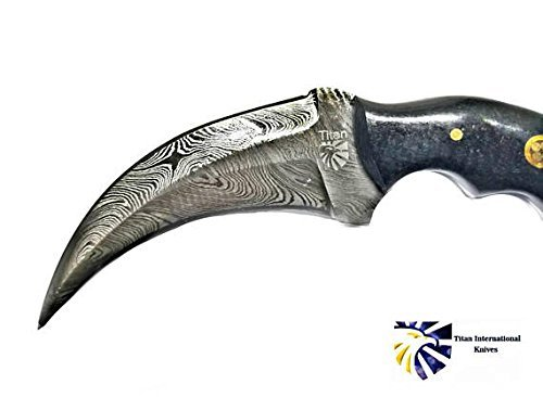 Titan International Knives Damascus Steel with Black Canvas Micarta Scales Double Edge Karambit Knife by Titan International Knives (Image #2)