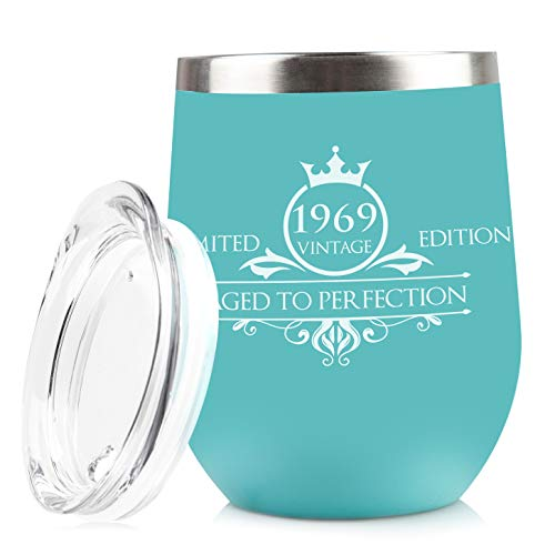 Gifts 50th Birthday - 1969 50th Birthday Gifts for Women Men Tumbler | Vintage Anniversary Gift Ideas for Mom Dad Husband Wife | 50 Year Old Party Decorations Supplies for Him Her | 12 oz Stainless Steel Insulated Cups