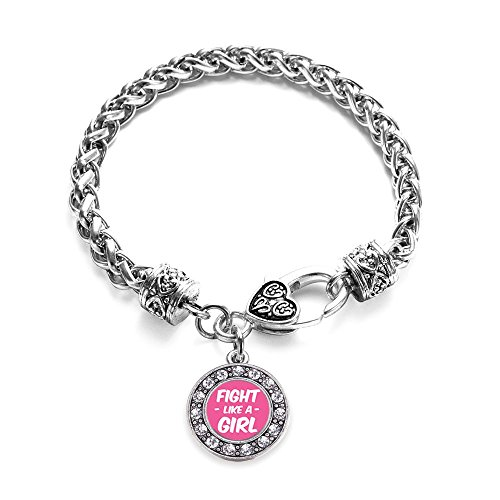 Inspired Silver Fight Like a Girl Breast Cancer Awareness Circle Charm Bracelet Silver Plated with Crystal Rhinestones