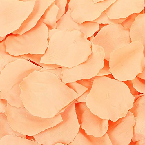 Koyal Wholesale Silk Rose Petals Confetti, Peach, Bulk 1200-Pack Wedding Flowers Table Scatter, Rose Petal Aisle Runner