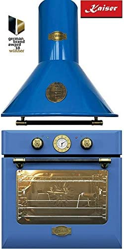 Kaiser EH 6424 BluBe Retro - Horno empotrable (60 cm) + Kaiser A6423 Blu Campana extractora de 60 cm, 8 funciones: horno retro, autolimpieza, iluminación, campana de pared, chimenea: Amazon.es: Grandes electrodomésticos