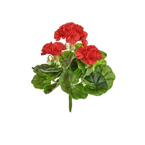 Floristrywarehouse Geranium Bush Artificial Silk Upright 9 Inch Red Hanging Basket Window Box Flowers