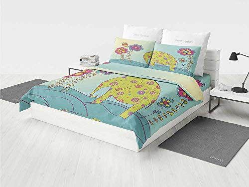 Kids Decor Disney Bedding Set Colorful Cute Elephant on Meadow Fairy Nature Art Print Picture Room Decor Animals Print Decorative Printing Four Pieces of Bedding (Fairy Cow Print)