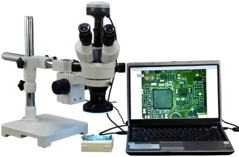 OMAX 3.5X-90X Digital Zoom Trinocular Single-Bar Boom Stand Stereo Microscope with 9.0MP USB Camera and 144 LED Ring Light with Light Control Box