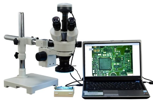 OMAX 3.5X-90X Digital Zoom Trinocular Single-Bar Boom Stand Stereo Microscope with 9.0MP USB Camera and 144 LED Ring Light with Light Control Box by OMAX
