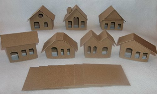 Mini Cardboard Putz Style Houses- Set of 7 DIY Houses -Small Light Hole Small Chipboard House