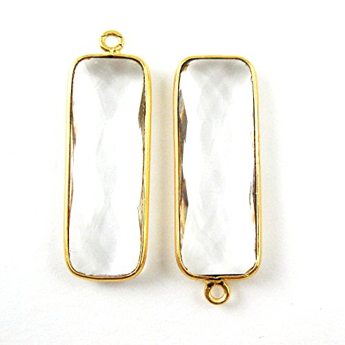 Bezel Charm Pendant - Vermeil Charm - Gold Plated Gemstone Charm Pendant-Elongated Rectangle - Crystal Quartz - April Birthstone -34 by 11mm-(2 pcs) ()