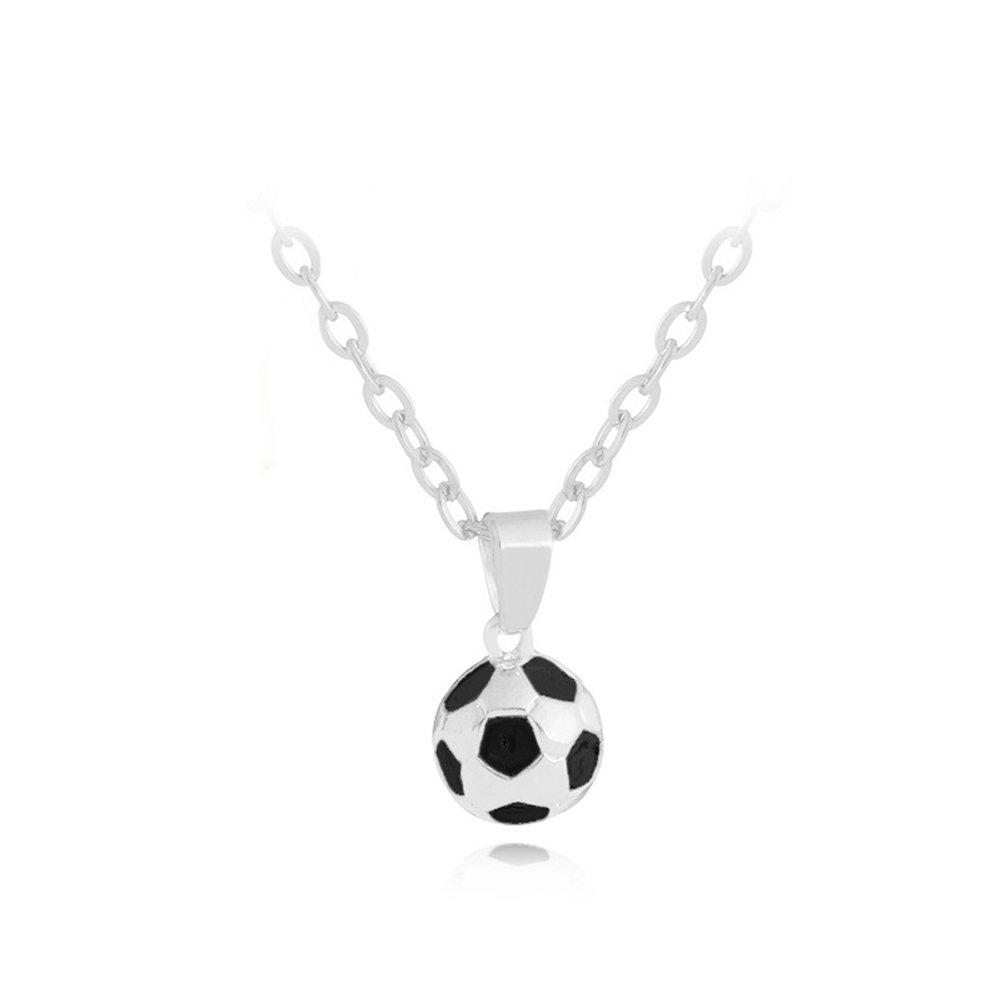 Wintefei Fashion Men Football Pendant Chain Necklace World Cup Souvenir Memorial Gift - Silver